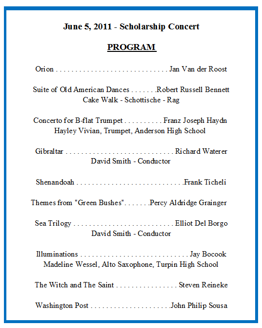 sample concert program