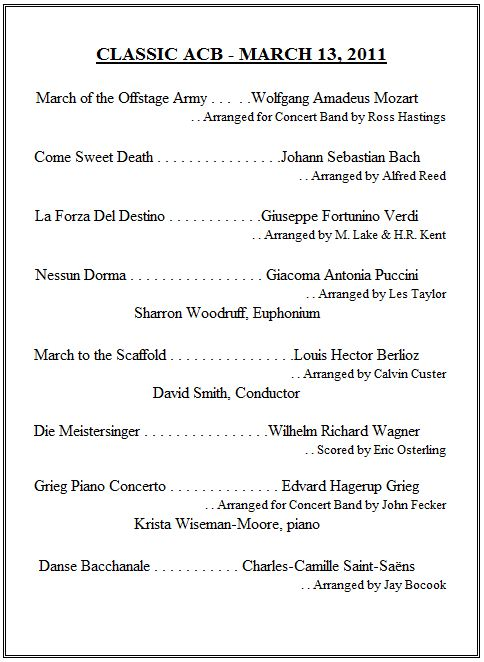 Click A Program Below To See An Example Of Our Repertoire From Previous Concerts